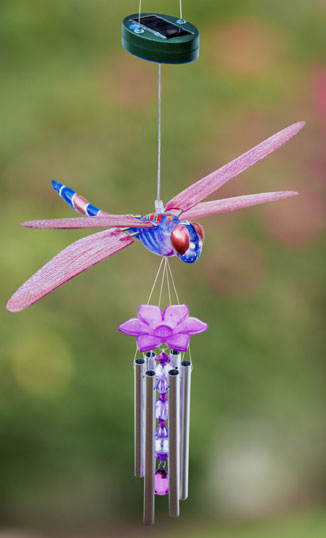 Solar Powered Dragonfly Wind Chime - Click to enlarge