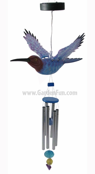 Solar Powered Hummingbird Wind Chime - Click to enlarge