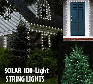 Solar String Lights - 100 LED White - Click to enlarge