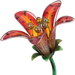 Solar Tiger Lily Stake - Red Glass