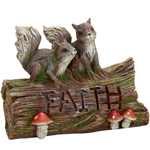 Solar Woodland Faith Log w/Squirrels