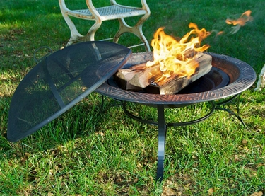 Steel Fire Pit w/Mayan Design & Screen - Click to enlarge
