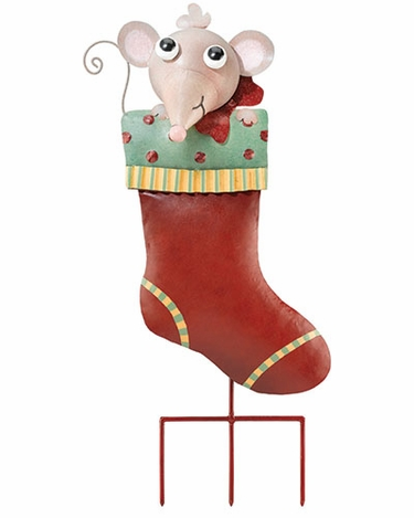 Stocking Mouse Stake / Wall Decor - Click to enlarge