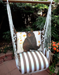 Striped Chocolate Brown Bear Hammock Chair Swing Set