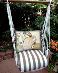 Striped Chocolate Bunny Rabbits Hammock Chair Swing Set