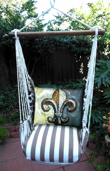Striped Chocolate Fleur De Lis Hammock Chair Swing Set - Click to enlarge