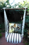 Striped Chocolate Fleur De Lis Hammock Chair Swing Set