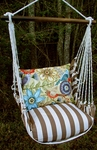 Striped Chocolate Garden Hammock Chair Swing Set