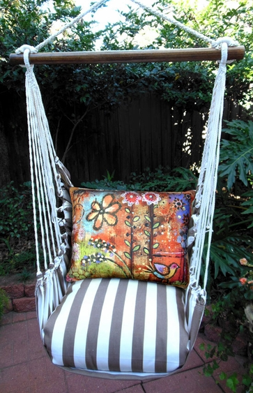 Striped Chocolate Impressions Bird Hammock Chair Swing Set - Click to enlarge