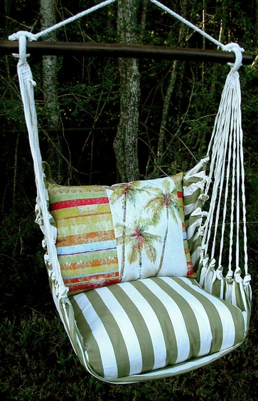 Summer Palms Stripe Hammock Chair Swing Set - Click to enlarge