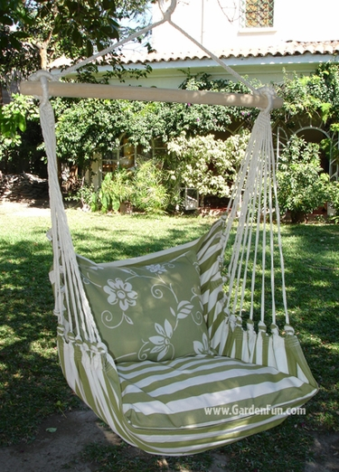 Summer Stripe Toile Hammock Chair Swing Set - Click to enlarge