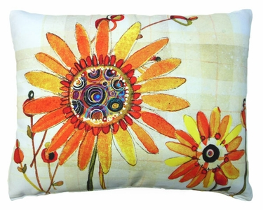 Sunflowers Orange Outdoor Pillow - Click to enlarge
