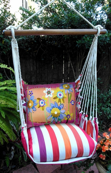 Sweet Painterly Flowers Hammock Chair Swing Set - Click to enlarge