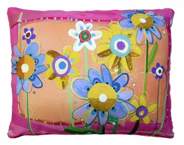 Sweet Painterly Flowers Outdoor Pillow - Click to enlarge