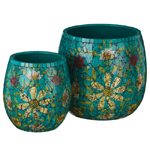 Teal Mosaic Planters (Set of 2)