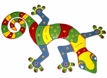 Multi-Colored Striped Gecko Wall Decor - Click to enlarge