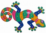 Teal Pink Striped Gecko Wall Decor