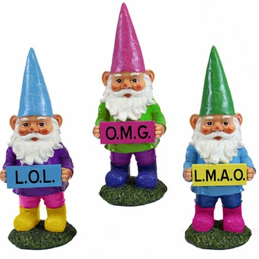 Texting Gnomes (Set of 3) - Click to enlarge