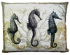 Three Seahorses Outdoor Pillow