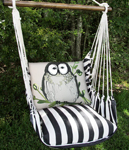 Ticking Black Chubby Owl Hammock Chair Swing Set