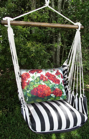 Ticking Black Geranium Hammock Chair Swing Set - Click to enlarge
