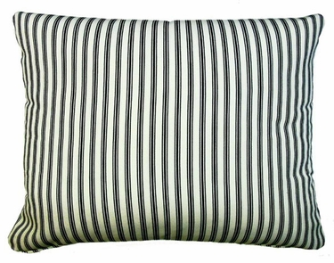 Ticking Black Outdoor Pillow - Click to enlarge