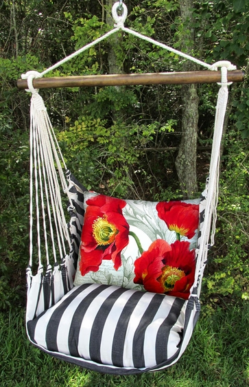 Ticking Black Poppies Hammock Chair Swing Set - Click to enlarge