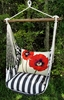 Ticking Black Poppy Love Hammock Chair Swing Set