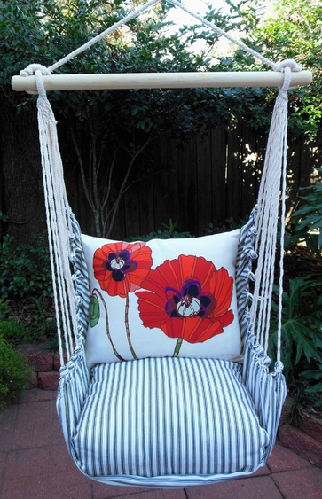Ticking Black Poppy Love Hammock Chair Swing Set - Click to enlarge