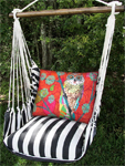 Ticking Black Red Owl Hammock Chair Swing Set