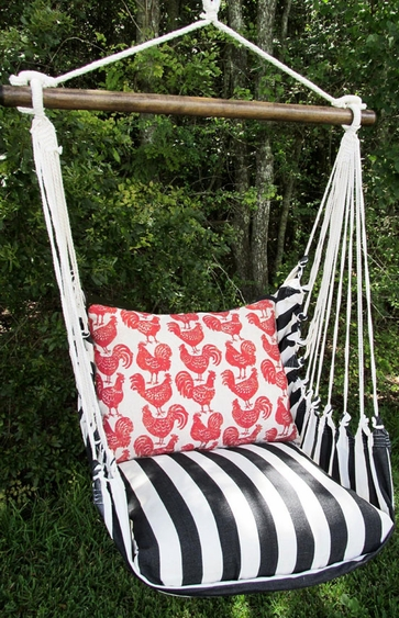 Ticking Black Roosters All Over Hammock Chair Swing Set - Click to enlarge