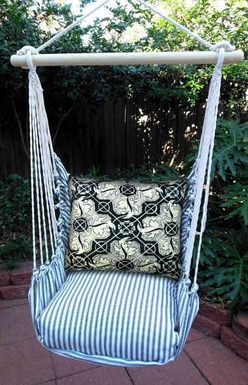 Ticking Black Tile 2 Hammock Chair Swing Set - Click to enlarge