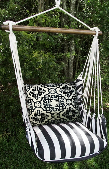 Ticking Black Tile Hammock Chair Swing Set - Click to enlarge
