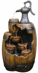 Tiered Barrels & Pump Outdoor Fountain