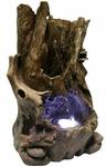 Tree Trunk Tabletop Fountain w/LED Light