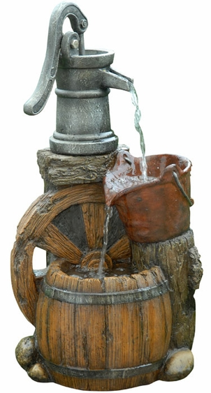 Wagon Wheel Pump Outdoor Fountain - Click to enlarge