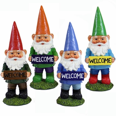 Welcome Garden Gnomes (Set of 4) - Click to enlarge
