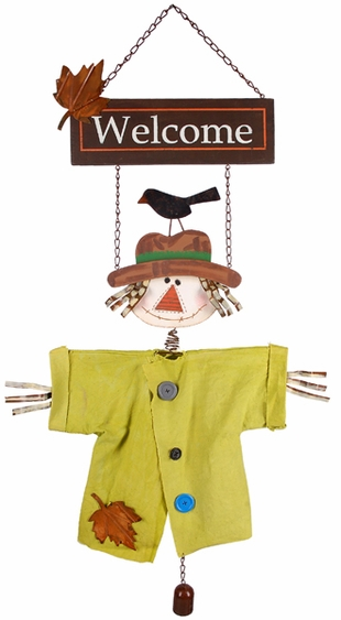 Welcome Scarecrow Door Hanger - Click to enlarge