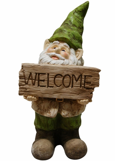 Garden Gnome w/Welcome Sign - Click to enlarge