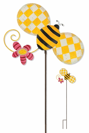 Whimsical Metal Bee Stake - Click to enlarge