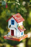 White Garden House Bird Feeder