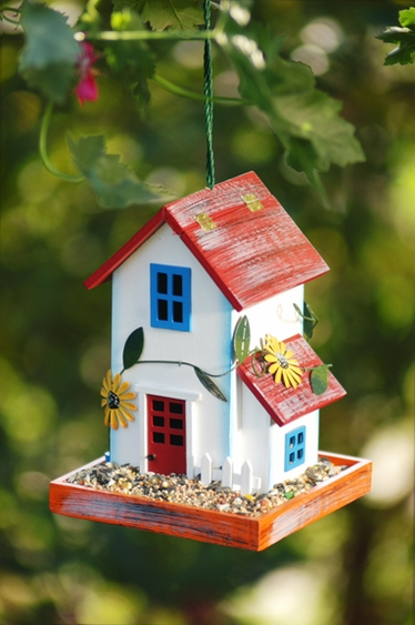 White Garden House Bird Feeder - Click to enlarge