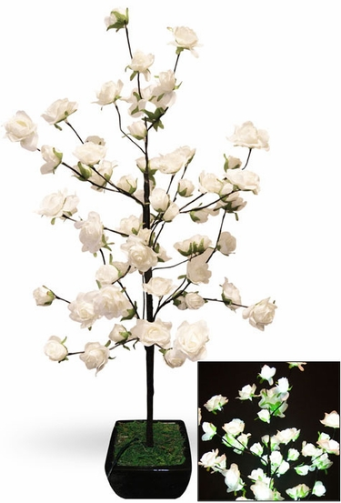 White Rose Bush w/64 LED Lights - Click to enlarge