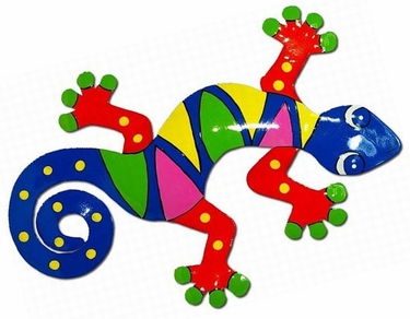 XL Multi-Colored Gecko Wall Art - Click to enlarge