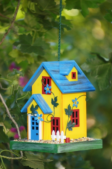 Yellow Garden House Bird Feeder - Click to enlarge