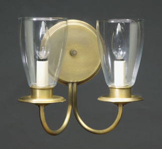 2-Lite Round Back Wall Sconce with Savannah Shades