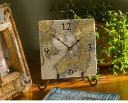 8-inch Marble Nautical Map Clock - Your Location!