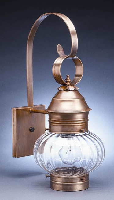 "8""  Wall Mount Onion Lantern with Optic Glass"