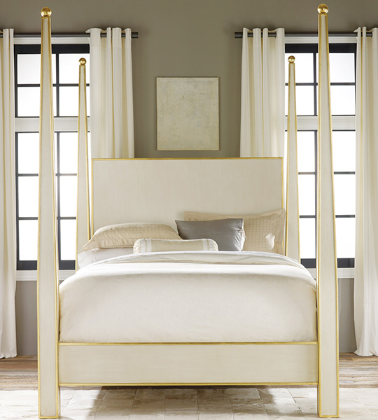 Antique White with Gold Leaf Bed