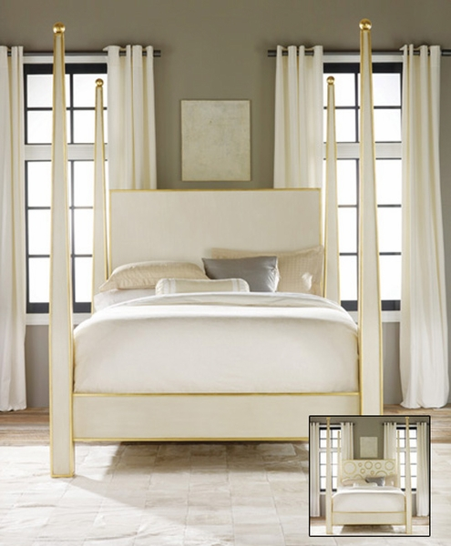 Abstract Bed in Antique White with Gold Leaf
